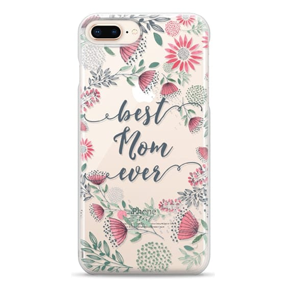 iPhone 8 Plus Cases - Best Mom Ever Watercolor Floral Pink and Green