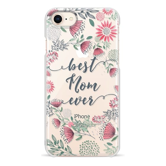 iPhone 8 Cases - Best Mom Ever Watercolor Floral Pink and Green