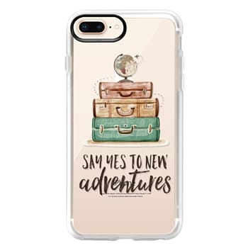 Grip iPhone 8 Plus Case - Watercolour Travel World Globe - Say Yes to New Adventures