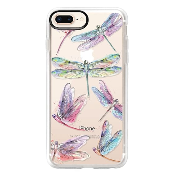 iPhone 8 Plus Cases - Watercolor Dragonflies