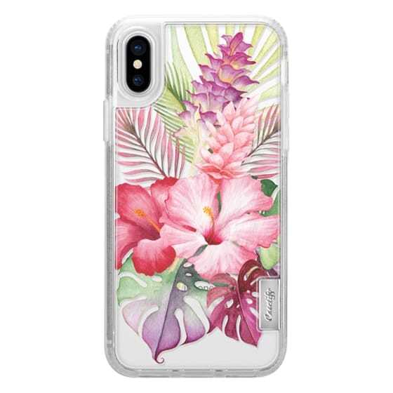 iPhone X Cases - Watercolor Tropical Pink Floral