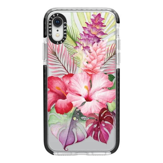 iPhone XR Cases - Watercolor Tropical Pink Floral