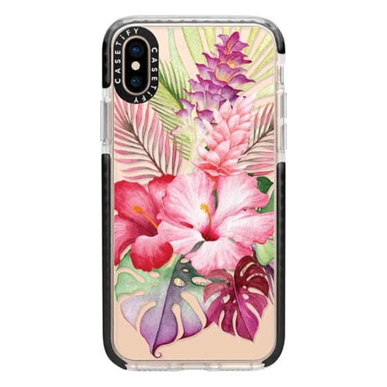 iPhone XS Cases - Watercolor Tropical Pink Floral