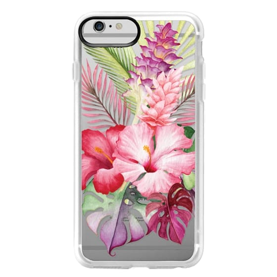 iPhone 6 Plus Cases - Watercolor Tropical Pink Floral