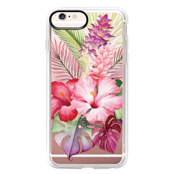 iPhone 6s Plus Cases - Watercolor Tropical Pink Floral