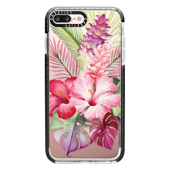iPhone 7 Plus Cases - Watercolor Tropical Pink Floral