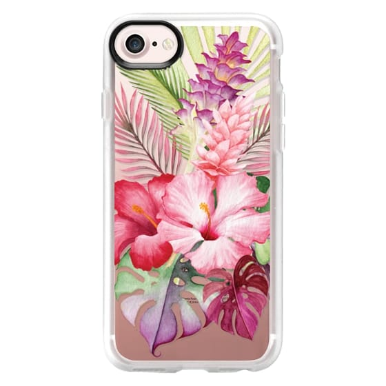 iPhone 7 Cases - Watercolor Tropical Pink Floral