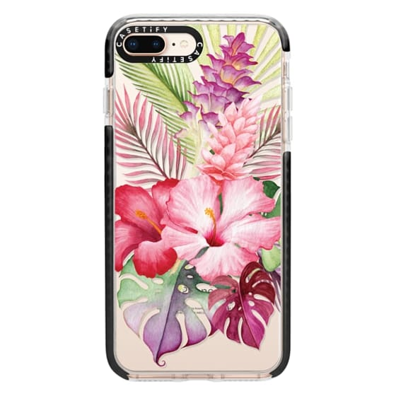 iPhone 8 Plus Cases - Watercolor Tropical Pink Floral