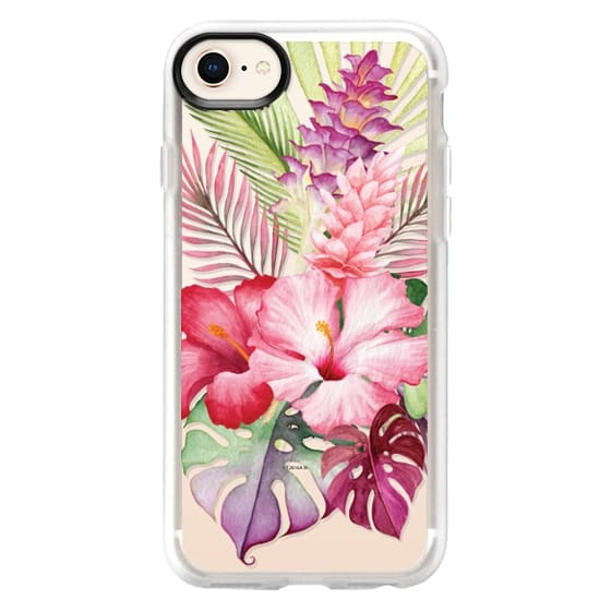 iPhone 8 Cases - Watercolor Tropical Pink Floral