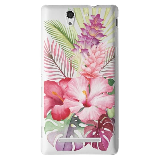 Sony C3 Cases - Watercolor Tropical Pink Floral