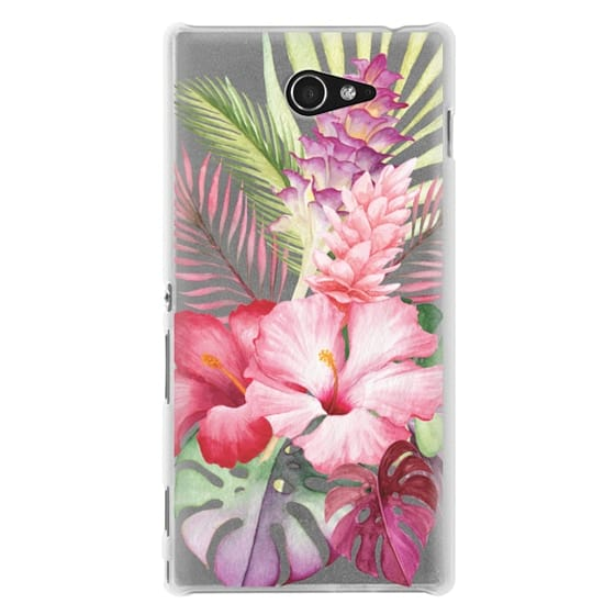 Sony M2 Cases - Watercolor Tropical Pink Floral