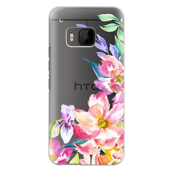 Htc One M9 Cases - Bright Watercolor Floral Summer Garden