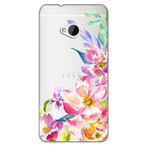 Htc One Cases - Bright Watercolor Floral Summer Garden