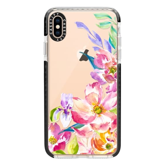 iPhone XS Max Cases - Bright Watercolor Floral Summer Garden