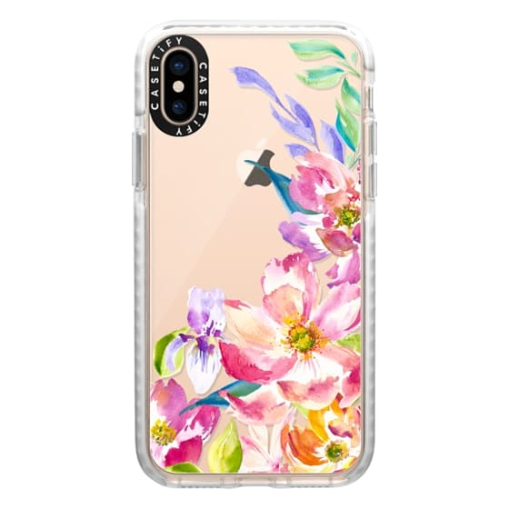 iPhone XS Cases - Bright Watercolor Floral Summer Garden