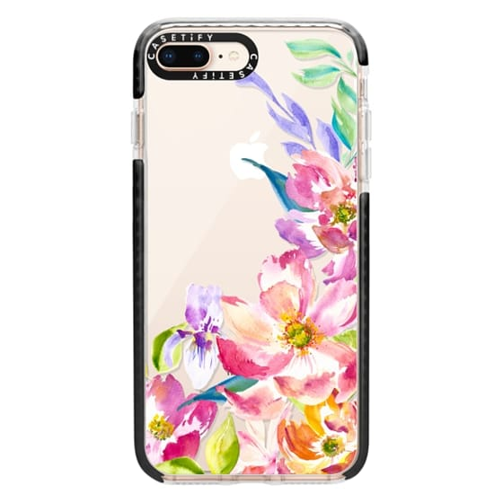 iPhone 8 Plus Cases - Bright Watercolor Floral Summer Garden