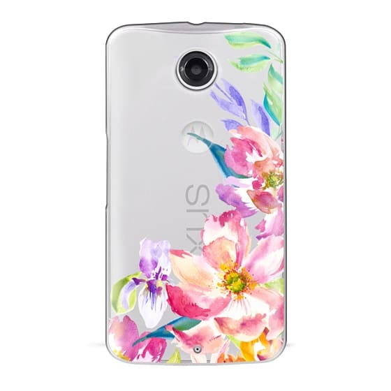 Nexus 6 Cases - Bright Watercolor Floral Summer Garden