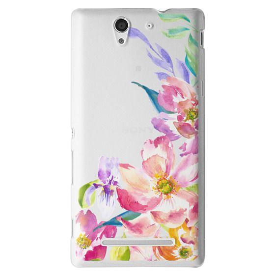 Sony C3 Cases - Bright Watercolor Floral Summer Garden