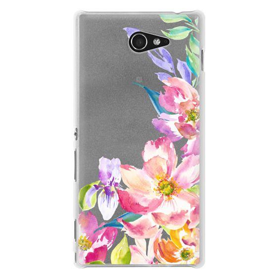 Sony M2 Cases - Bright Watercolor Floral Summer Garden