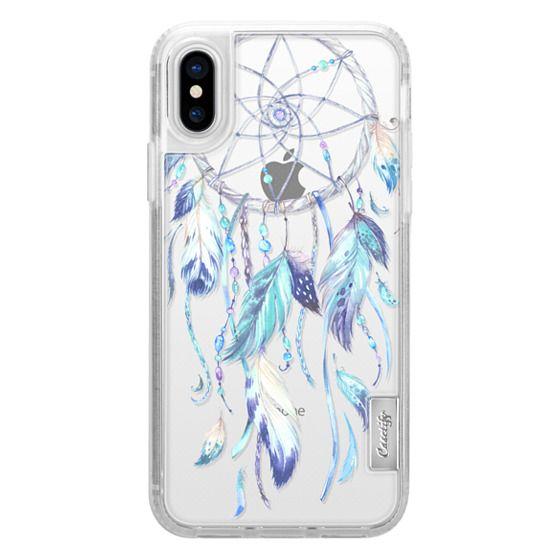 iPhone X Cases - Watercolor Blue Dreamcatcher Feather Dream Catcher