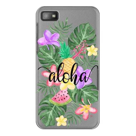 Blackberry Z10 Cases - Tropical Watercolor Floral Leaves Aloha