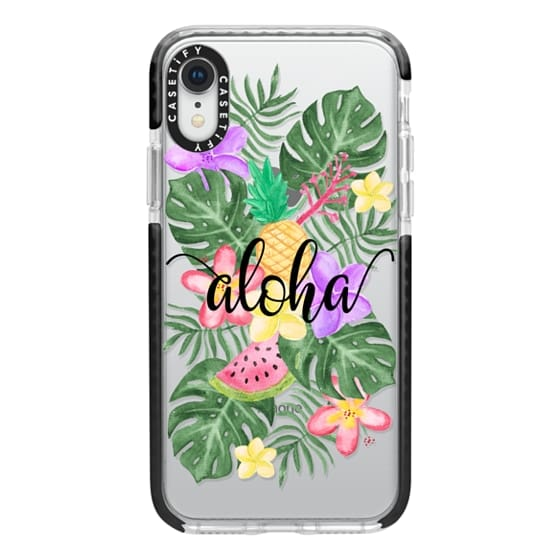 iPhone XR Cases - Tropical Watercolor Floral Leaves Aloha