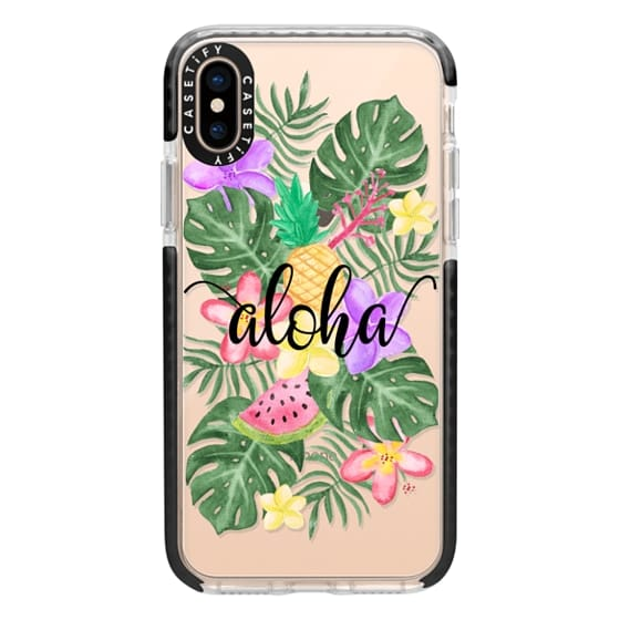 iPhone XS Cases - Tropical Watercolor Floral Leaves Aloha