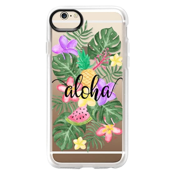 iPhone 6 Cases - Tropical Watercolor Floral Leaves Aloha