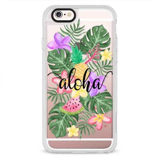 iPhone 4 Cases - Tropical Watercolor Floral Leaves Aloha
