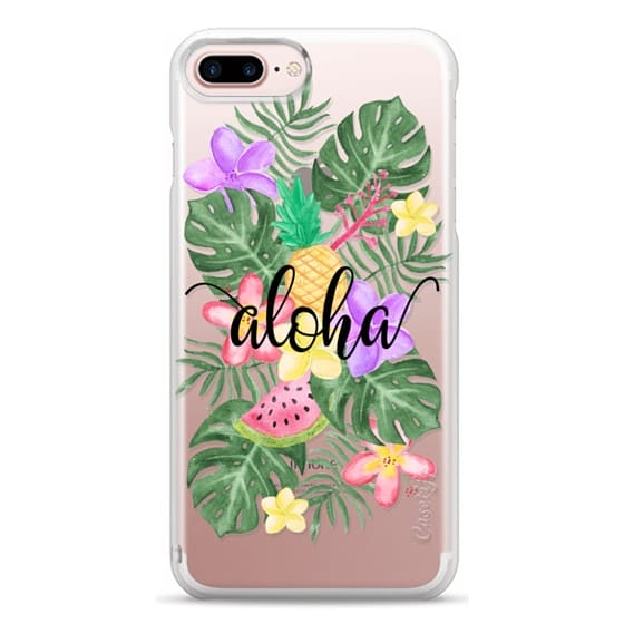 iPhone 7 Plus Cases - Tropical Watercolor Floral Leaves Aloha