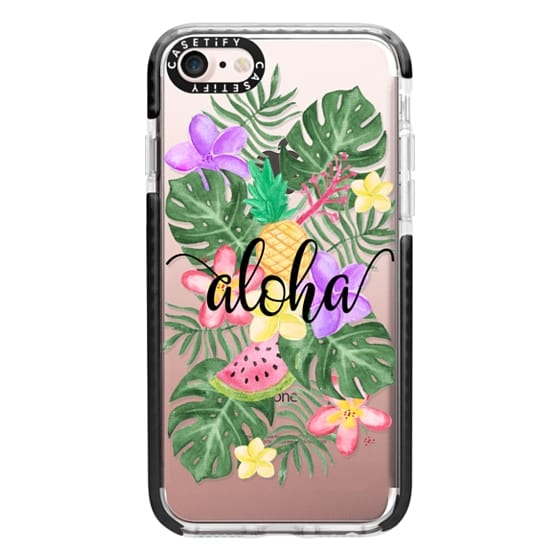iPhone 7 Cases - Tropical Watercolor Floral Leaves Aloha