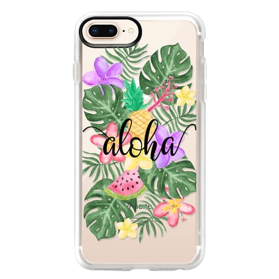 iPhone 8 Plus Cases - Tropical Watercolor Floral Leaves Aloha