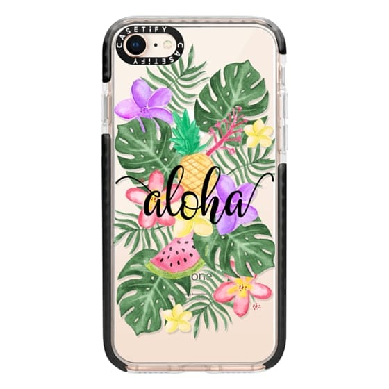 iPhone 8 Cases - Tropical Watercolor Floral Leaves Aloha