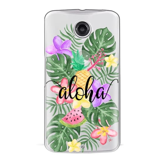 Nexus 6 Cases - Tropical Watercolor Floral Leaves Aloha