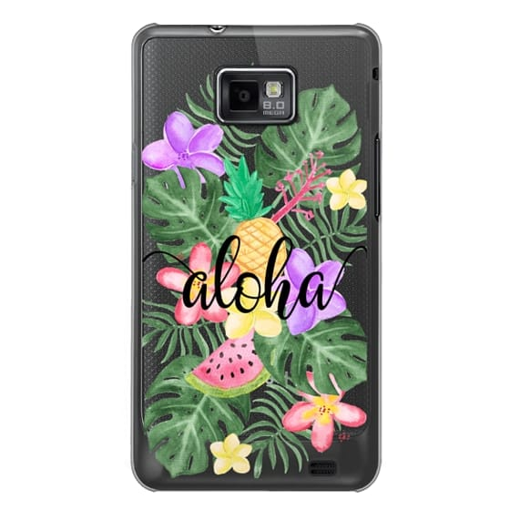 Samsung Galaxy S2 Cases - Tropical Watercolor Floral Leaves Aloha