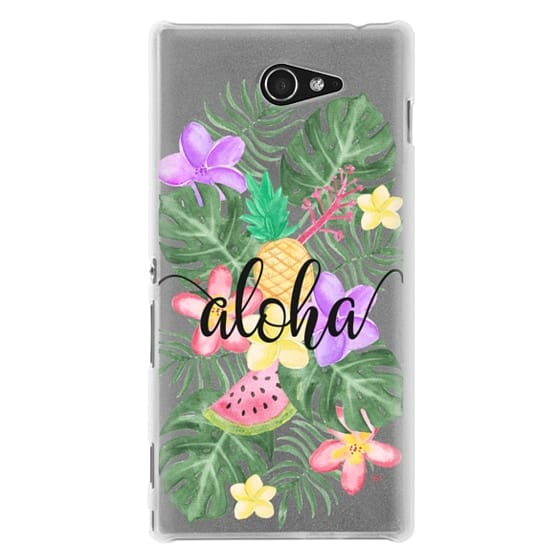 Sony M2 Cases - Tropical Watercolor Floral Leaves Aloha