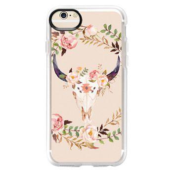 Grip iPhone 6 Case - Watercolour Floral Bull Skull