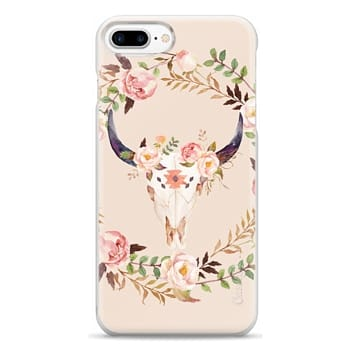 Snap iPhone 7 Plus Case - Watercolour Floral Bull Skull