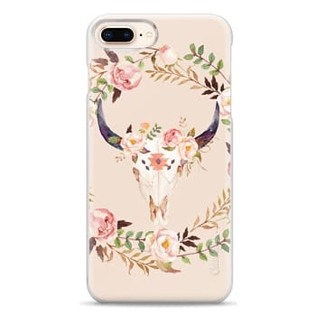 Snap iPhone 8 Plus Case - Watercolour Floral Bull Skull