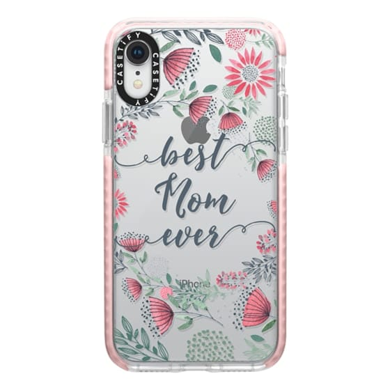 iPhone XR Cases - Best Mom Ever Watercolor Floral Pink and Green