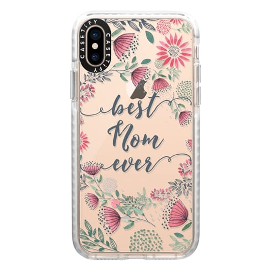 iPhone XS Cases - Best Mom Ever Watercolor Floral Pink and Green