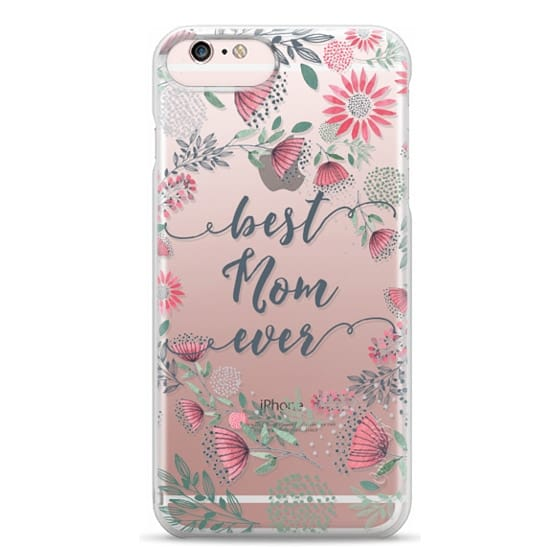 iPhone 6s Plus Cases - Best Mom Ever Watercolor Floral Pink and Green
