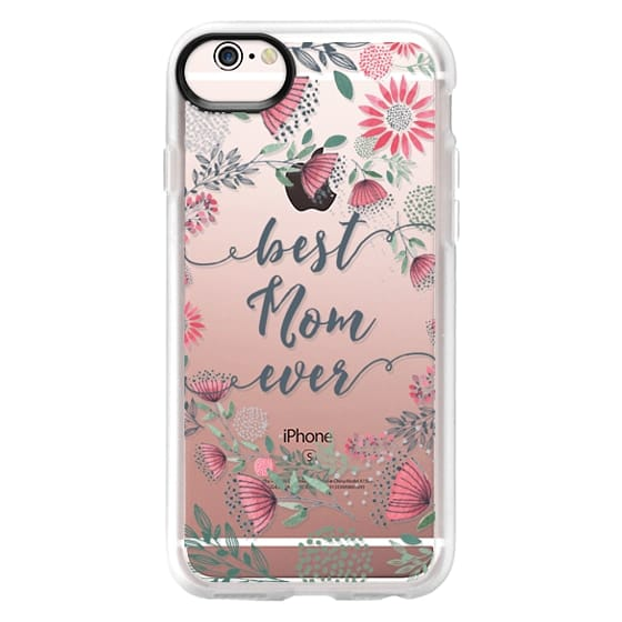 iPhone 6s Cases - Best Mom Ever Watercolor Floral Pink and Green