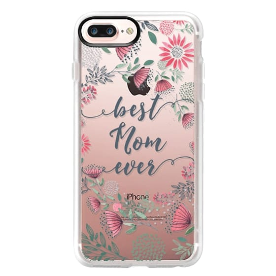 iPhone 7 Plus Cases - Best Mom Ever Watercolor Floral Pink and Green
