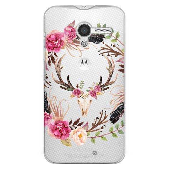 Watercolour Floral Deer Skull - Transparent