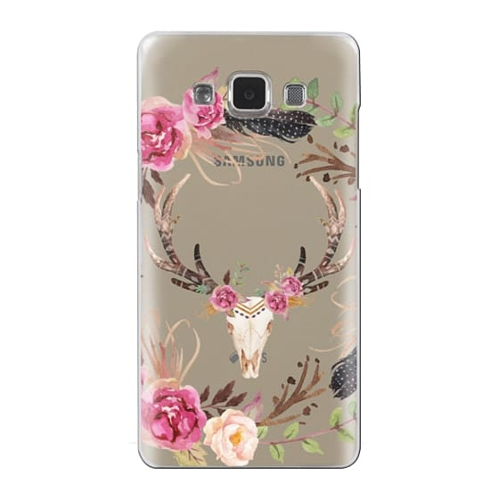 Watercolour Floral Deer Skull - Transparent