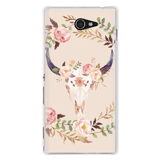 Watercolour Floral Bull Skull