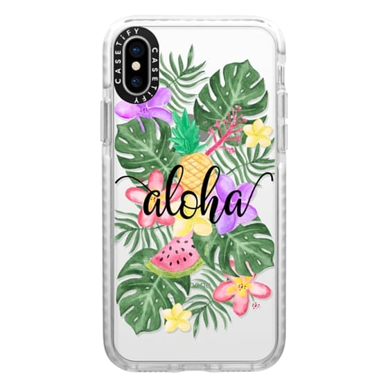 iPhone X Cases - Tropical Watercolor Floral Leaves Aloha