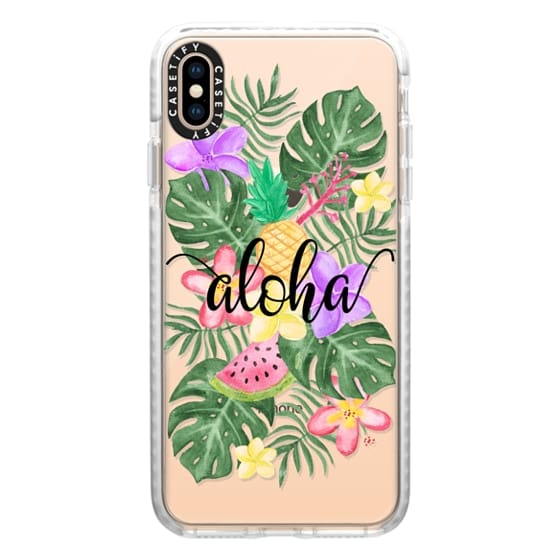 iPhone XS Max Cases - Tropical Watercolor Floral Leaves Aloha