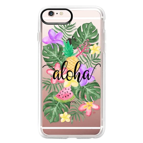 iPhone 6s Plus Cases - Tropical Watercolor Floral Leaves Aloha